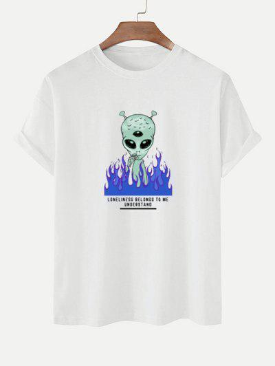 Funny Smoking ET Flame Print Basic T-shirt - White M