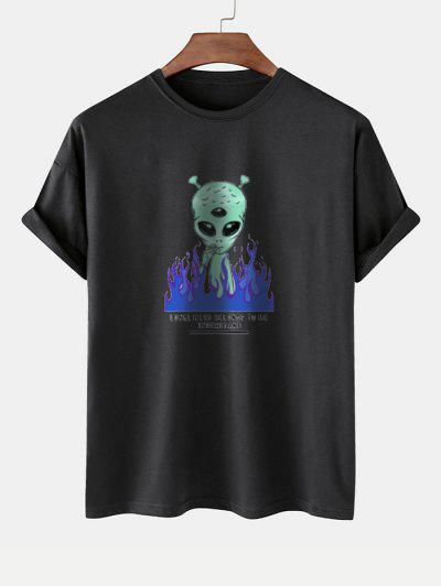 Funny Smoking ET Flame Print Basic T-shirt - Black M