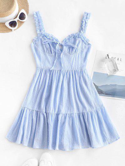 Vestido De Sol Dobladillo De Lunares Con Volantes - Azul Claro Xl