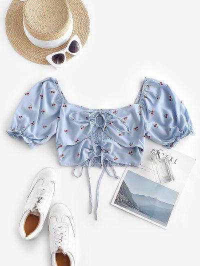 Tie Cherry Print Puff Sleeve Milkmaid Blouse - Light Blue S