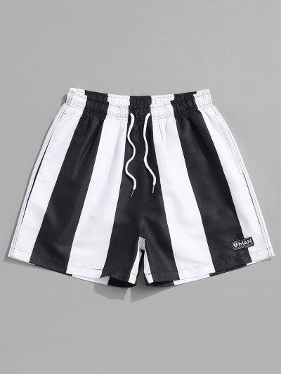 Contrast Stripe Casual Shorts - Black Xl