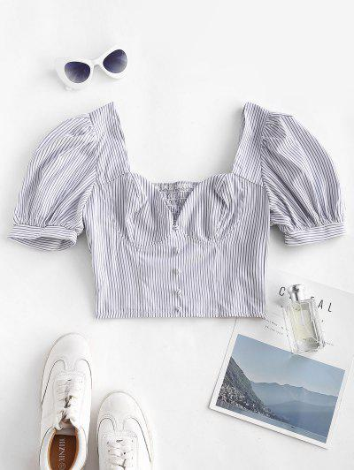 Striped Puff Sleeve Smocked Crop Blouse - White S
