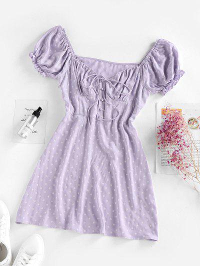 ZAFUL Flower Mock Button Puff Sleeve Dress - Light Purple S