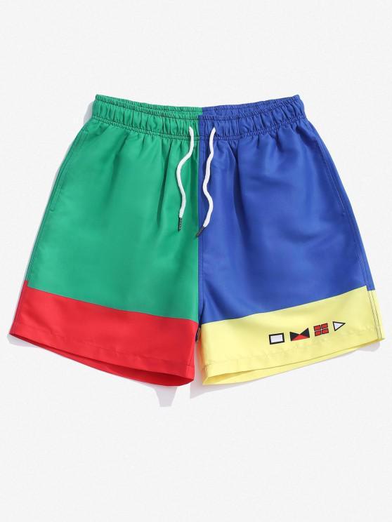 Pantaloncini a Blocchi di Colore con Stampa Geometrica - Multi Colori 2XL