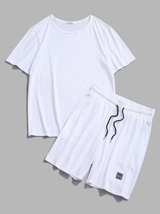 womens Patched Basic T-shirt And Shorts Two Piece Set - WHITE M