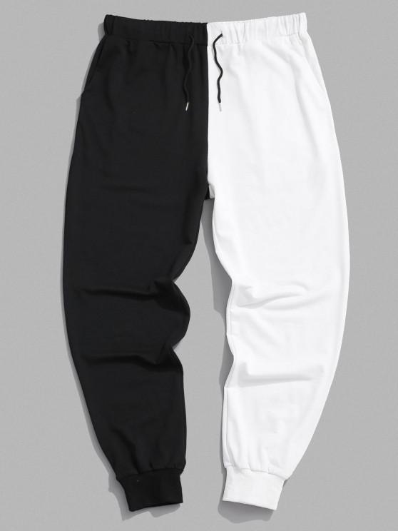 womens Two Tone Jogger Sweatpants - BLACK L