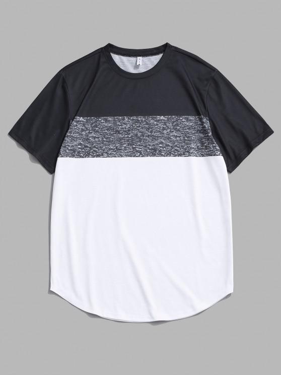 T-shirt Panneau en Blocs de Couleurs à Manches Courtes - Blanc 2XL
