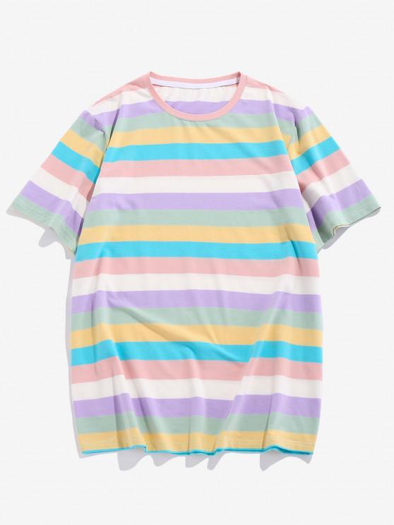 ZAFUL Striped Colorblock T Shirt - متعدد S
