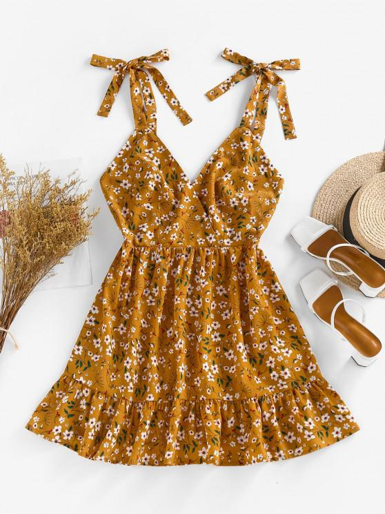 new ZAFUL Floral Tie Strap Pep Hem Backless Sundress - DEEP YELLOW S