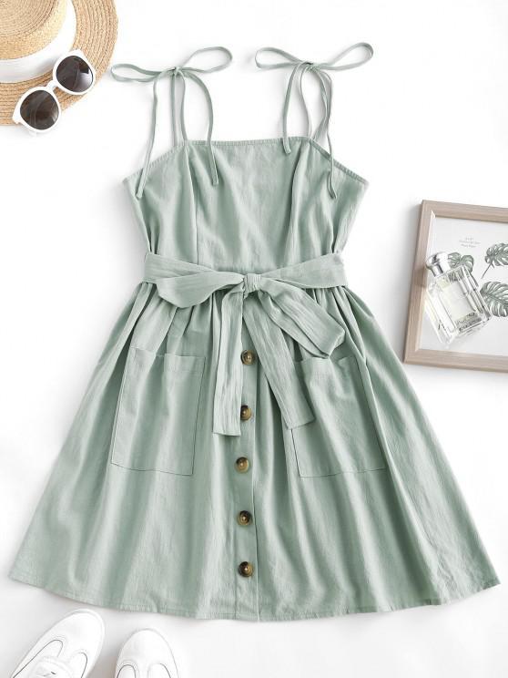 women ZAFUL Tie Shoulder Smocked Dual Pocket Cami Dress - LIGHT GREEN M