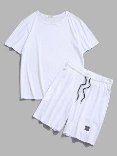 Patched Basic T-shirt And Shorts Two Piece Set - White L