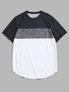Farbblock Panel Kurzarm T-Shirt - Weiß M