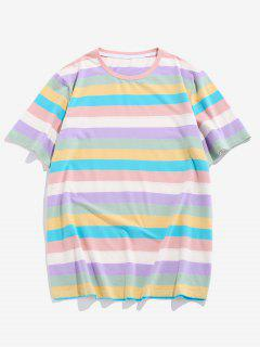 ZAFUL Striped Colorblock T Shirt - Multi L