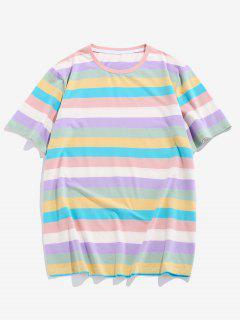 ZAFUL Gestreiftes Farbblock T-Shirt - Multi M