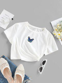 ZAFUL Butterfly Embroidery Crop T Shirt - White S