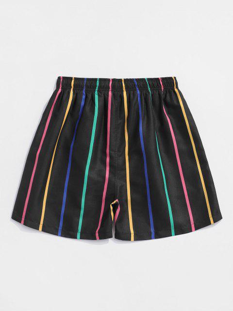 Colorful Stripe Print Shorts - أسود 2XL Mobile
