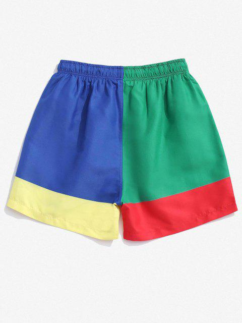 Colorblock Geometric Print Shorts - متعدد 2XL Mobile