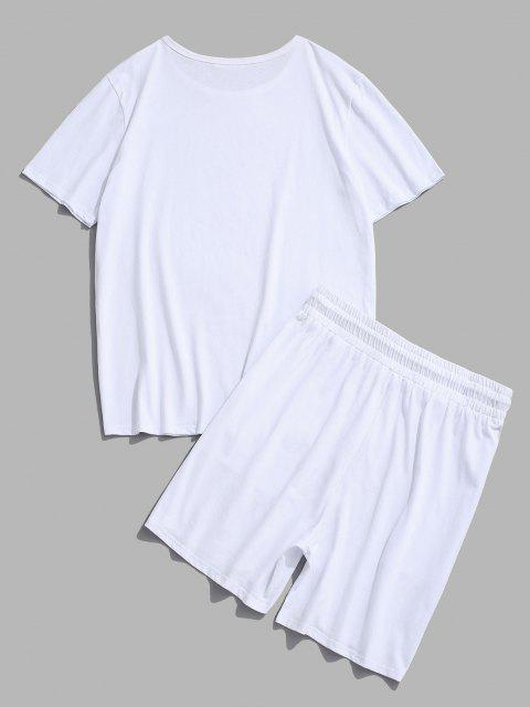 online Patched Basic T-shirt And Shorts Two Piece Set - WHITE XL Mobile