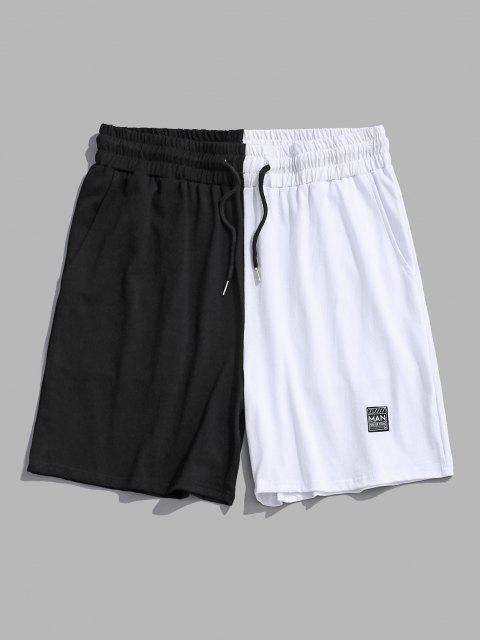 Lässige Shorts mit Zweifarbigem Ausschnitt - Schwarz M Mobile