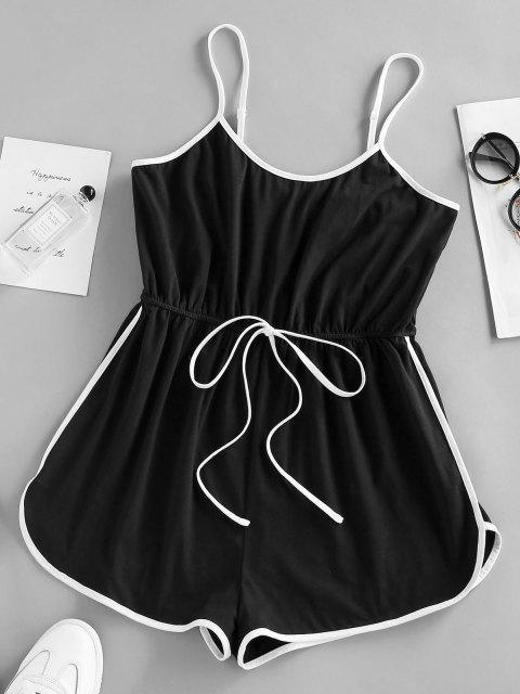 chic ZAFUL Contrast Binding Cami Bowknot Romper - BLACK XL Mobile