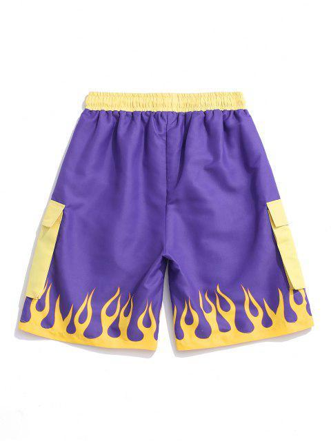 unique Flame Print Contrast Shorts - PURPLE AMETHYST M Mobile