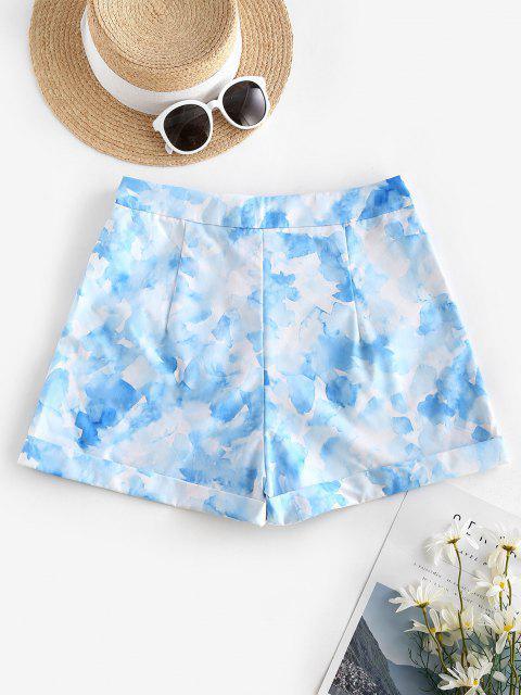 Short Teinté Ourlet à Revers - Bleu clair XL Mobile