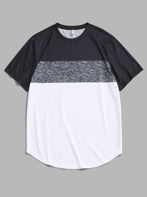 Camiseta con Panel de Color Bloque con Mangas Cortas - Blanco 2XL Mobile