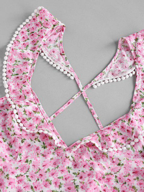 trendy ZAFUL Flower Print Pom Pom Trim Criss Cross Backless Dress - LIGHT PINK S Mobile