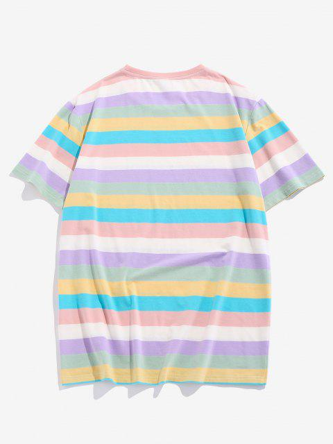 ladies ZAFUL Striped Colorblock T Shirt - MULTI S Mobile