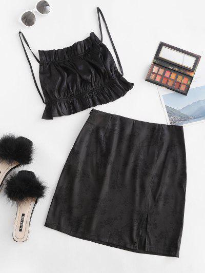 Ruffle Flower Jacquard Slit Skirt Set - Black M
