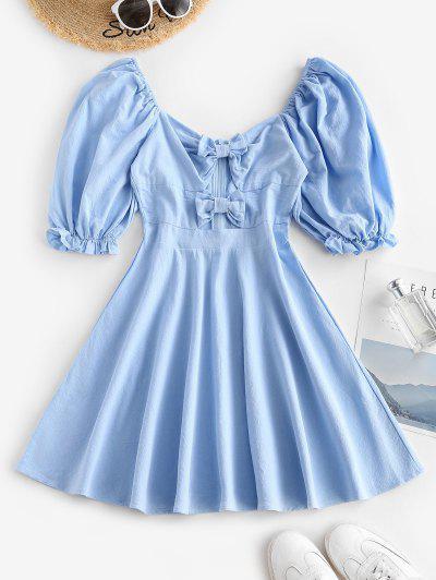 Mini Vestido Com Laço De Manga Puff - Azul Claro M