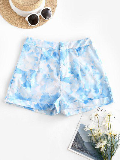 Tie Dye Watercolor Cuffed Hem Shorts - Light Blue S