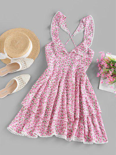ZAFUL Flower Print Pom Pom Trim Criss Cross Backless Dress - Light Pink S