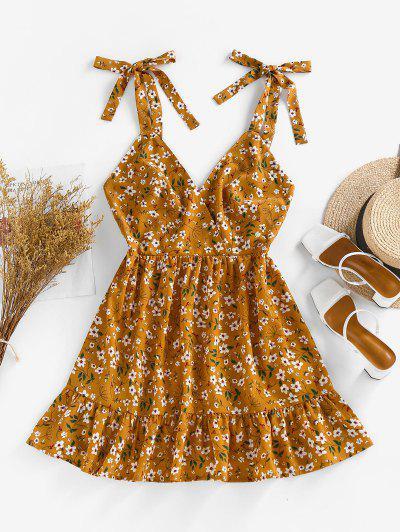 ZAFUL Floral Tie Strap Pep Hem Backless Sundress - Deep Yellow M