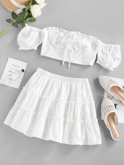 ZAFUL Broderie Anglaise Ruffle Off Shoulder Skirt Set - White S