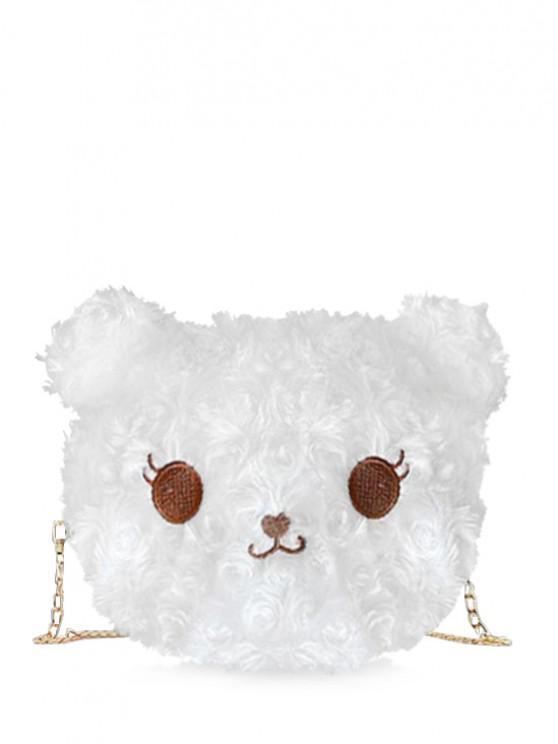 Fluffy Cartoon Animal Chain Crossbody Bag - حليب ابيض