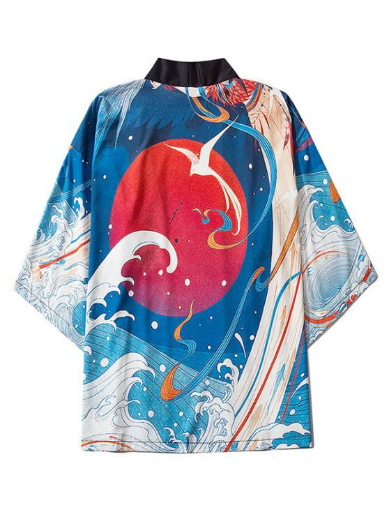 new Sea Waves Red Sun Print Oriental Kimono Cardigan - BLUEBERRY BLUE M