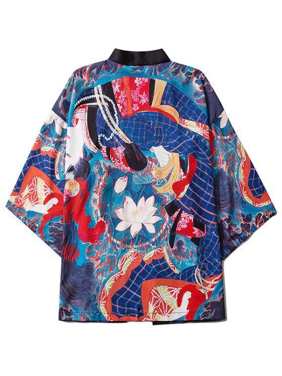 Geisha Lotus Flower Open Front Kimono Cardigan - كوبالت بلو L