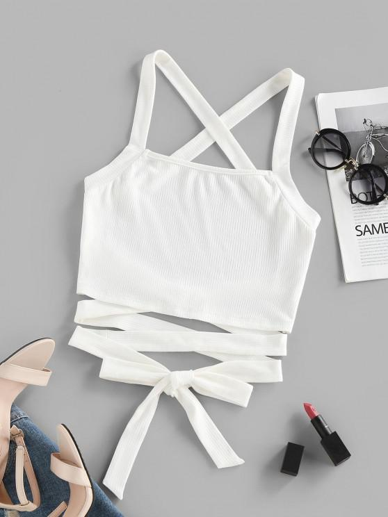affordable ZAFUL Ribbed Criss Cross Backless Crop Tank Top - WHITE M