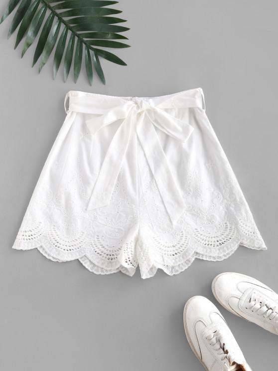chic Broderie Anglaise Belted Scalloped Embroidery Shorts - WHITE L