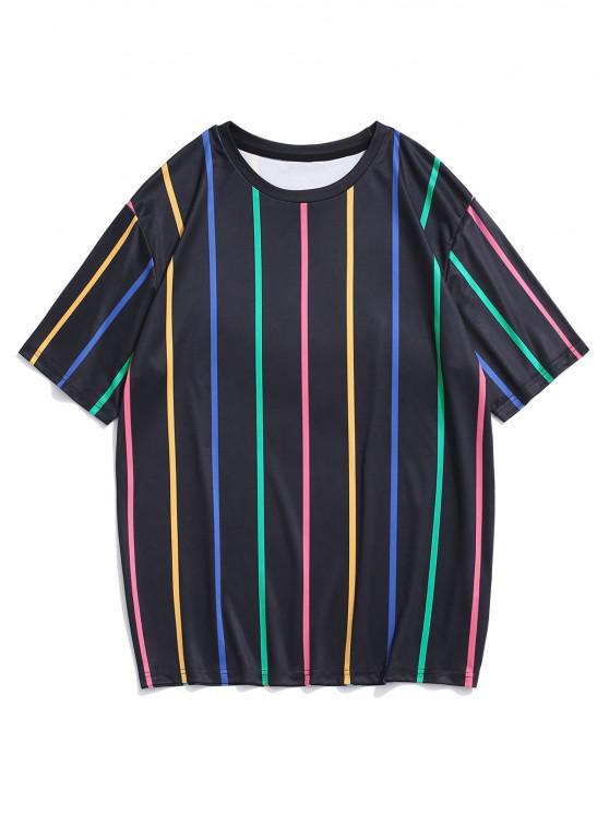 trendy Short Sleeve Colorful Stripe T-shirt - BLACK M