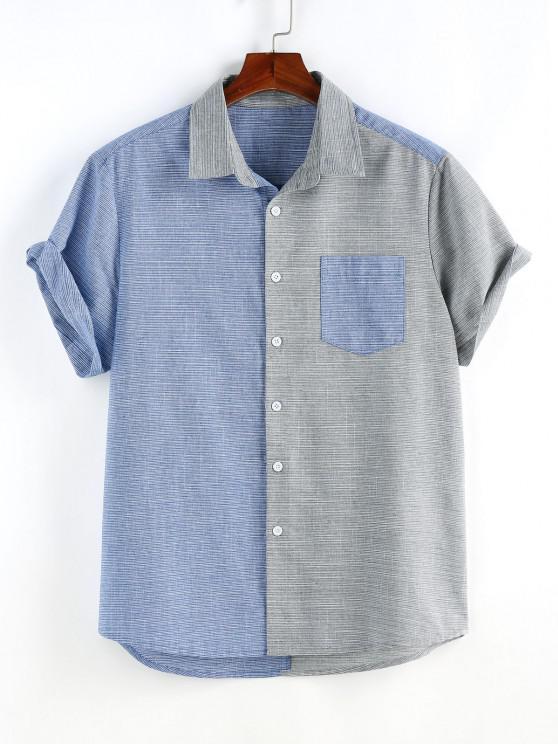 online Narrow Stripe Half and Half Pocket Short Sleeve Shirt - MULTI L