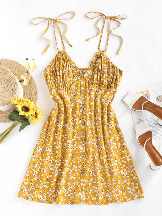 affordable ZAFUL Floral Tie Strap Ruched Smocked Sundress - DEEP YELLOW S
