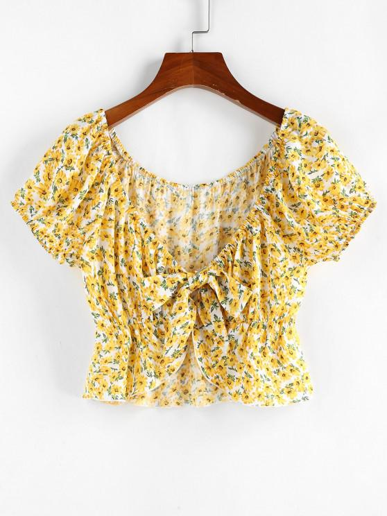 women ZAFUL Ditsy Print Tie Front Peplum Blouse - YELLOW M