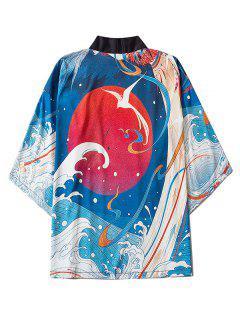 Sea Waves Red Sun Print Oriental Kimono Cardigan - Blueberry Blue L
