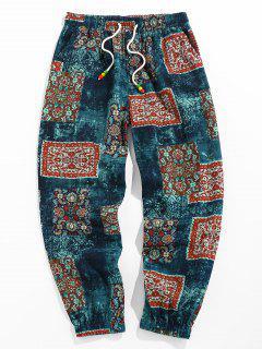 ZAFUL Bohemian Scarf Print Casual Pants - Deep Blue Xl