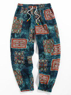 ZAFUL Bohemian Scarf Print Casual Pants - Deep Blue Xxl