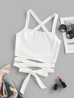 ZAFUL Ribbed Criss Cross Backless Crop Tank Top - White M