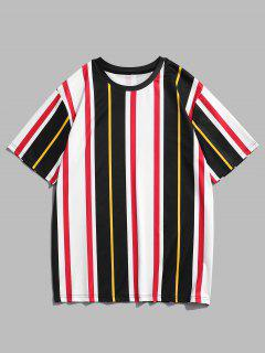 Short Sleeve Contrast Stripe T-shirt - White L