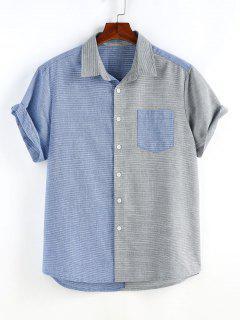 Narrow Stripe Half And Half Pocket Short Sleeve Shirt - Multi M